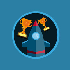 Flat Design Rocket With Trophy In Circle