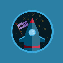 Flat Design Rocket With Success In Circle