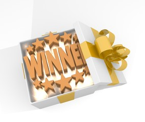 christmas gift box with winner symnol