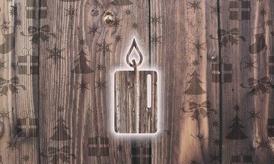 wooden candle label with presents
