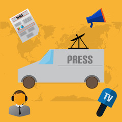 Flat Design With Press And News