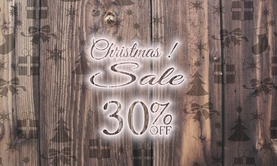 wooden Christmas discount 30 percent off label with presents