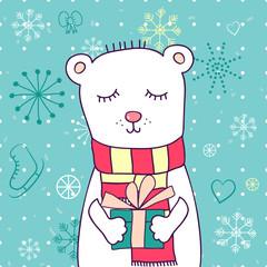 Vector cartoon Christmas cute illustration with Teddy bear.