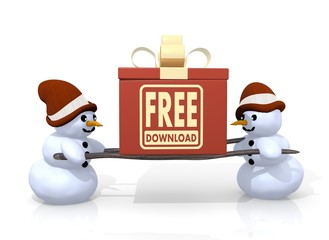 free download sign presented by two snowmen