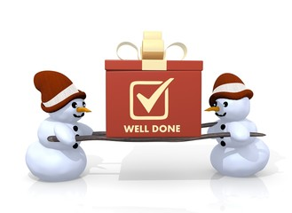 well done symbol presented by two snowmen