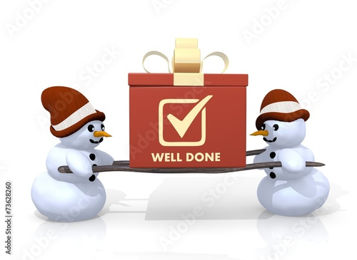 canvas print picture well done symbol presented by two snowmen