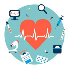 Medicine heart illustration in flat style.
