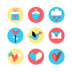 Icons for the holiday Valentine's Day