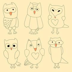 Hand drawn vintage doodle owl set.