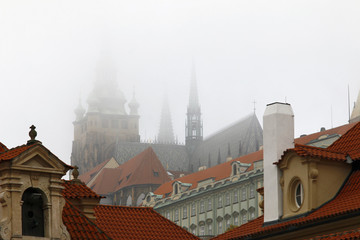 Cathedral of St Vitus in fog