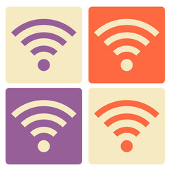Set of Wi-Fi flat icons.