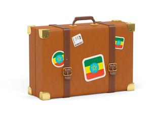 Suitcase with flag of ethiopia