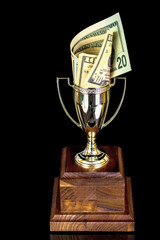 Dollars stuffed in at trophy