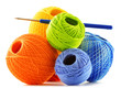 Colorful yarn for crocheting and hook isolated on white - 73630099