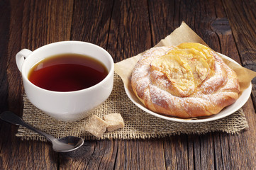 Tea with bun for breakfast