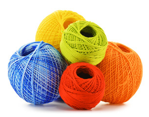 Colorful yarn for crocheting isolated on white