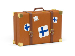 Suitcase with flag of finland