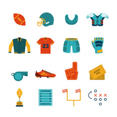 Rugby flat icons set