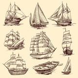 Ships and boats sketch set