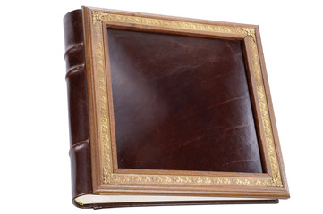 Leather expensive photo album with gold lettering