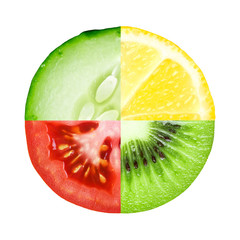 Mixed slice of fruit and vegetable