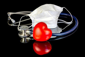 Medical supplies and a red heart with mask