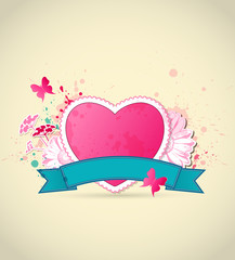 Pink heart and flowers for Valentine's Day