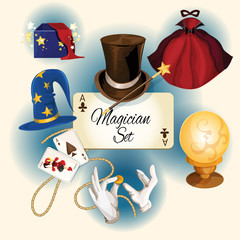 Magician icons set
