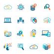 Database analytics icons flat - 73631435