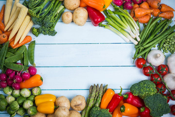 vegetables background with copy space