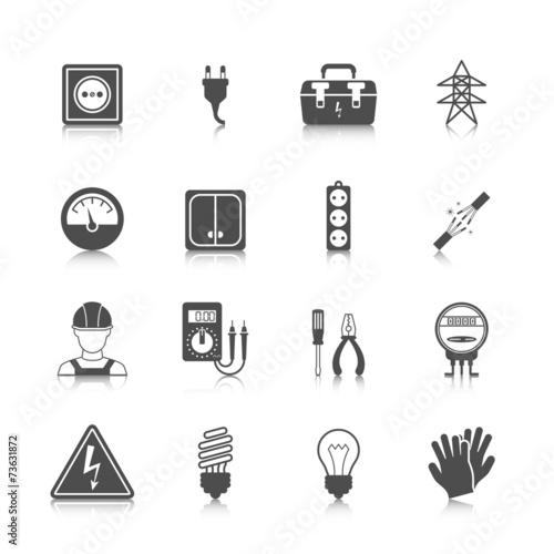 Leinwandbild Motiv Electricity icon black