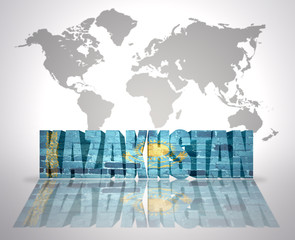 Word Kazakhstan on a world map background