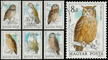 "Stamp shows complete series ""Owls"""