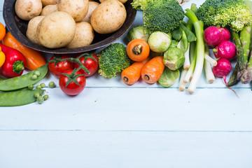 market fresh vegetables on table