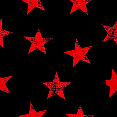 Seamless pattern with red stars over black background