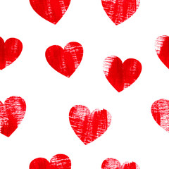 Seamless pattern with hearts over white background.