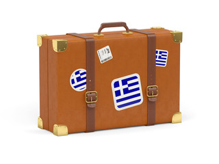 Suitcase with flag of greece