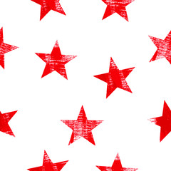 Seamless pattern with stars over white background.