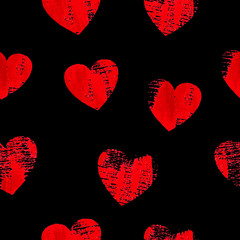 Seamless pattern with hearts over black background.