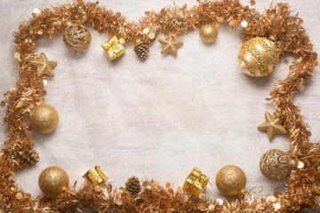 golden christmas decorations background