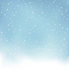 winter snowfall blue background
