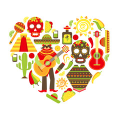 Mexico decorative icons set