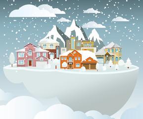 Flying island (village in winter)