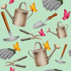 Garden tools seamless pattern