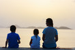 Family sunset silhouettes