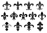 Black royal fleur de lis flowers set