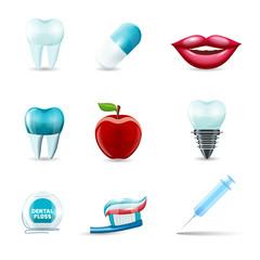 Dental icons realistic