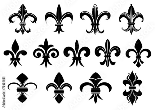 Black royal fleur de lis flowers set - 73634851