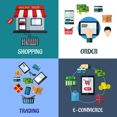 Business and shopping flat concept