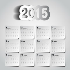 Simple 2015 Calendar, Background card design, week starts with s